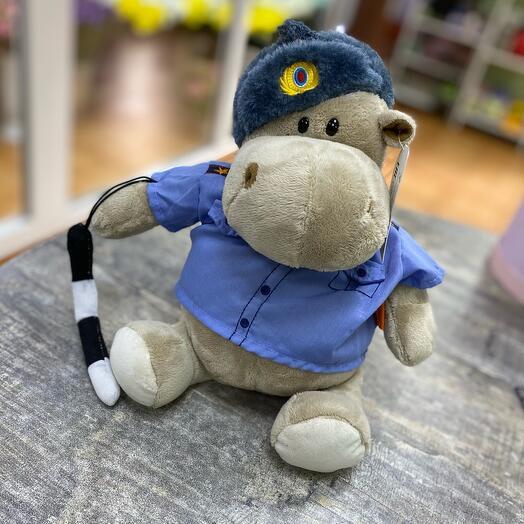 Мягкая игрушка «Бегемот Полицейский», 20 см