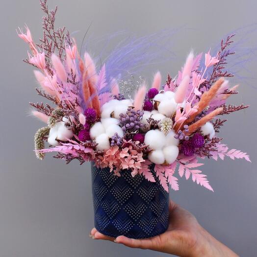 Кашпо с сухоцветами подарочное