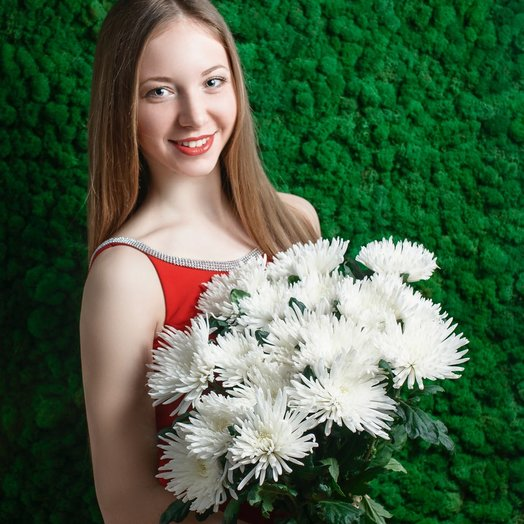 Bouquet of 21 white chrysanthemum disbudded: flowers to order Flowwow