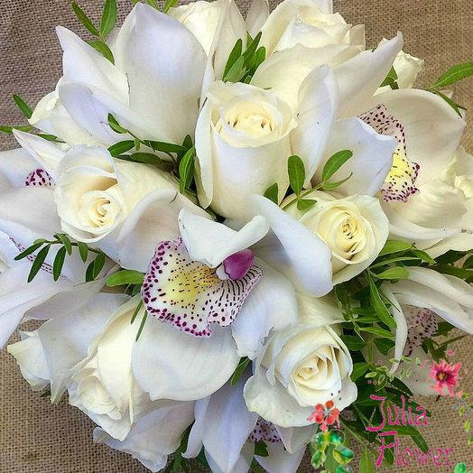 Букет невесты из орхидей и роз: букеты цветов на заказ Flowwow