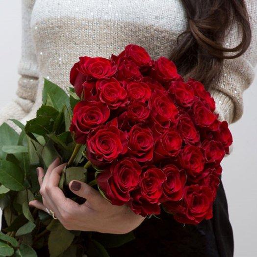 Букет из 30 красных роз 50 см: букеты цветов на заказ Flowwow