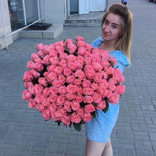 101 розовая Роза: букеты цветов на заказ Flowwow