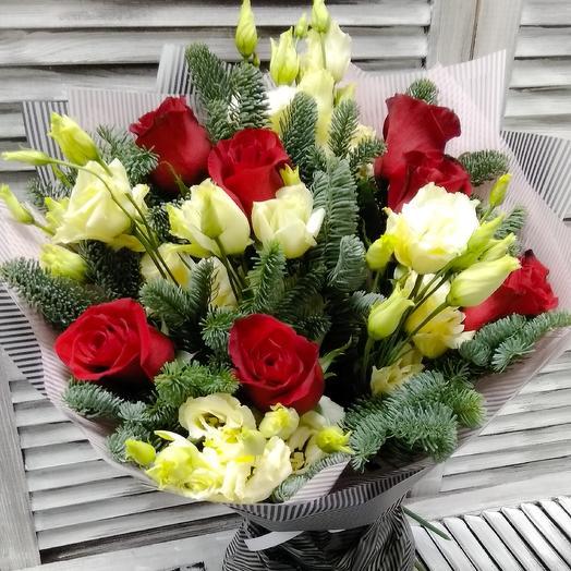 Букет из роз,эустом и нобилиса: букеты цветов на заказ Flowwow