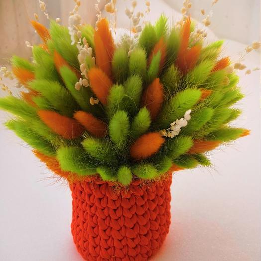 Букет из лагуруса в вязаной корзинке: букеты цветов на заказ Flowwow
