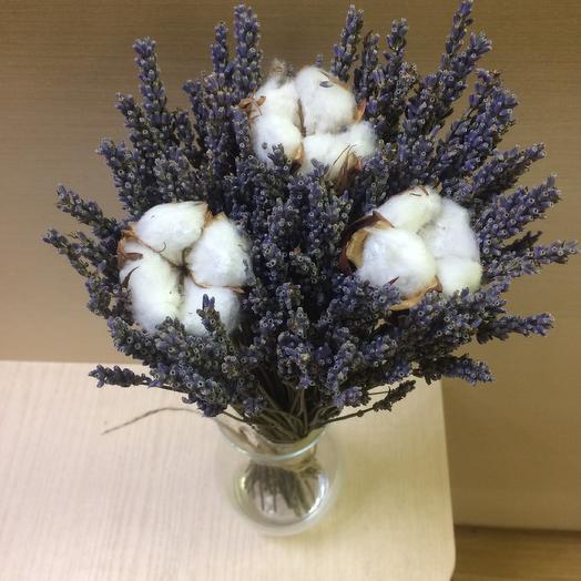 Букетик из лаванды и хлопка: букеты цветов на заказ Flowwow