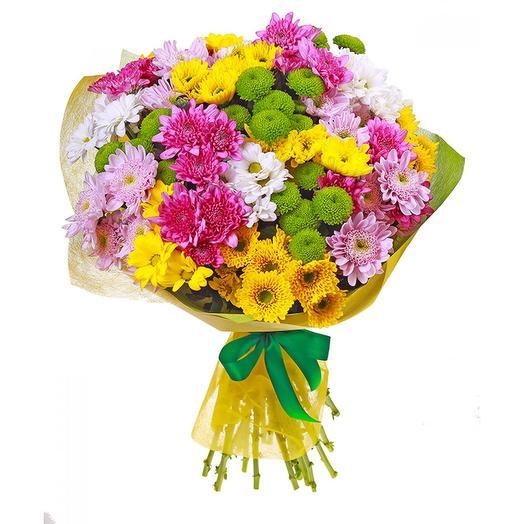 Букет разноцветных хризантем: букеты цветов на заказ Flowwow