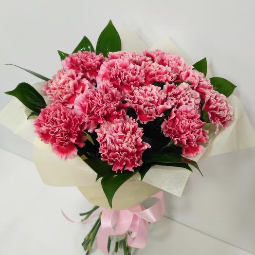 15 нежных гвоздик: букеты цветов на заказ Flowwow