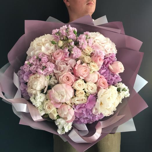 Fragrant bouquet with peonies
