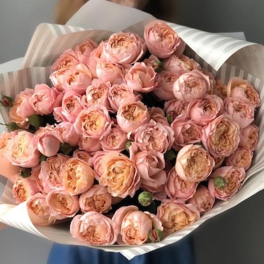 Пионовидная кустовая Роза Джульетта: букеты цветов на заказ Flowwow