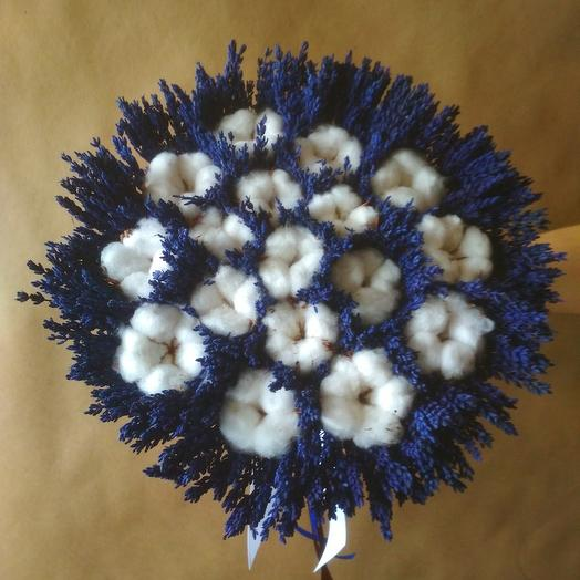 Букет стабилизированной лаванды с хлопком: букеты цветов на заказ Flowwow