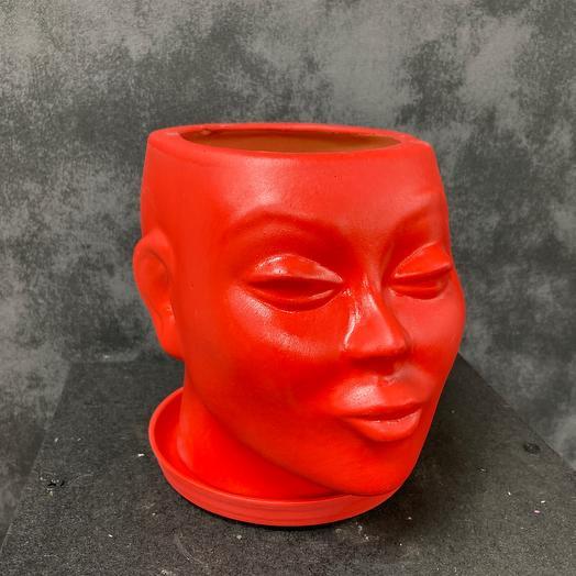 Кашпо голова Красная