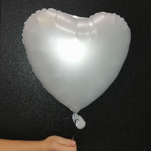 Сердце серебристое матовое фольгированное