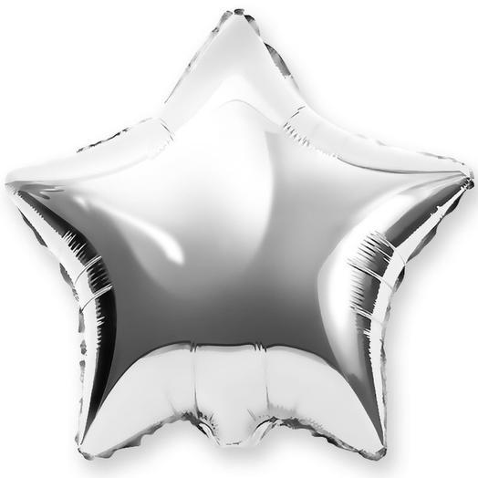 Шар звезда серебро с гелием
