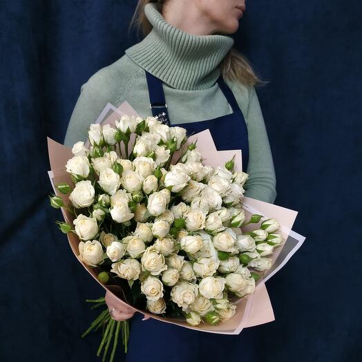 """Bouquet """" 25 white bush roses"""""""