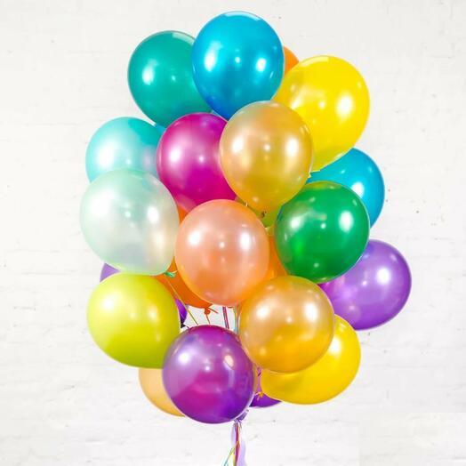 Набор из 25 разноцветных гелиевых шаров
