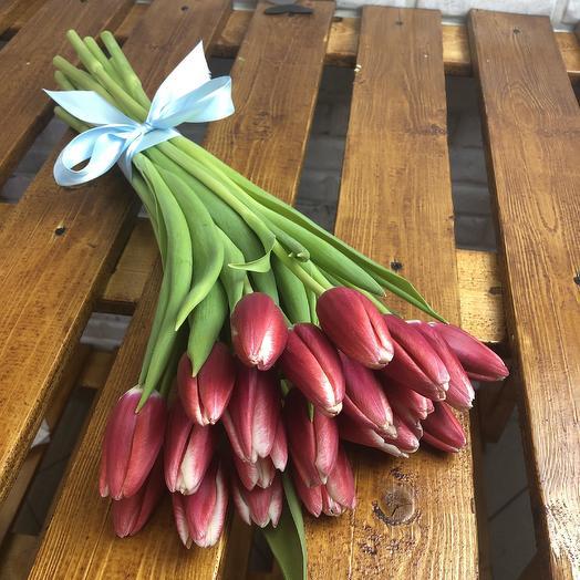 Букет из 19 красных тюльпанов: букеты цветов на заказ Flowwow