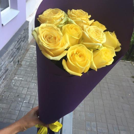 Букет из 10 желтых кенийская роза: букеты цветов на заказ Flowwow