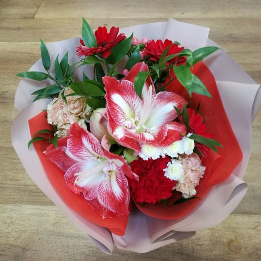 ЯРКИЙ АМАРИЛЛИС !: букеты цветов на заказ Flowwow