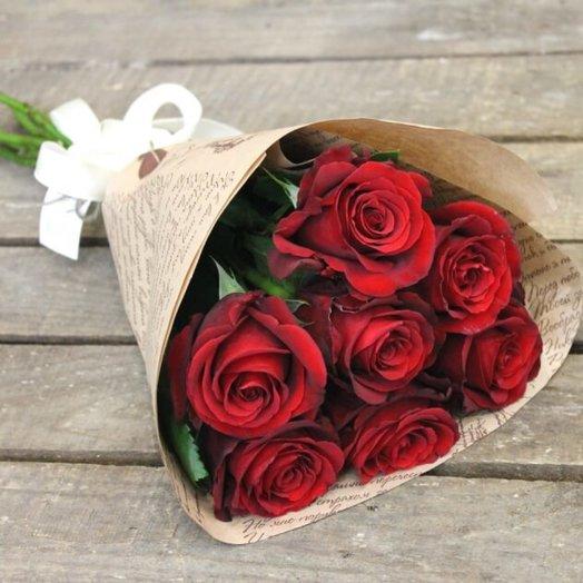 Шикарный букет из 7 алых роз