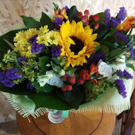 Букет с полсолнухом: букеты цветов на заказ Flowwow