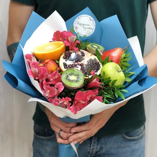 Фруктово-цветочный комплимент: букеты цветов на заказ Flowwow