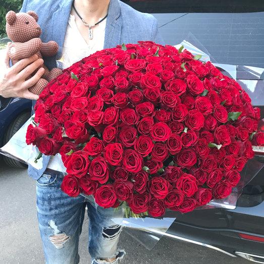 Набор: 201 роз и мишка : букеты цветов на заказ Flowwow