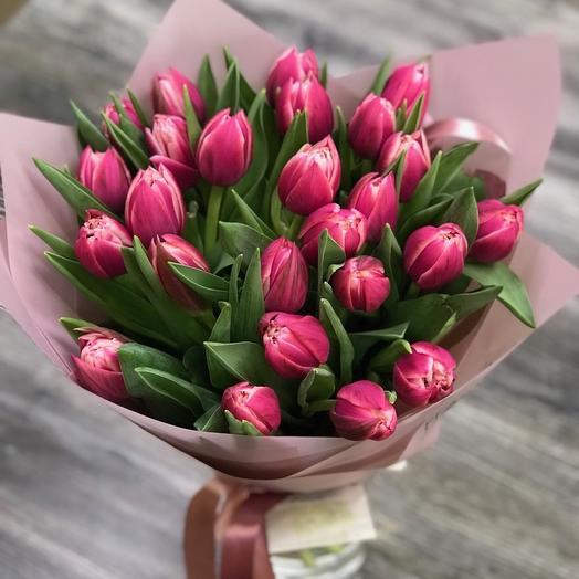 Пионовидный тюльпан Колумбус: букеты цветов на заказ Flowwow