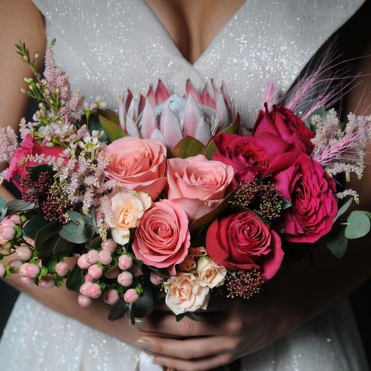 Сказочный авторский свадебный букет