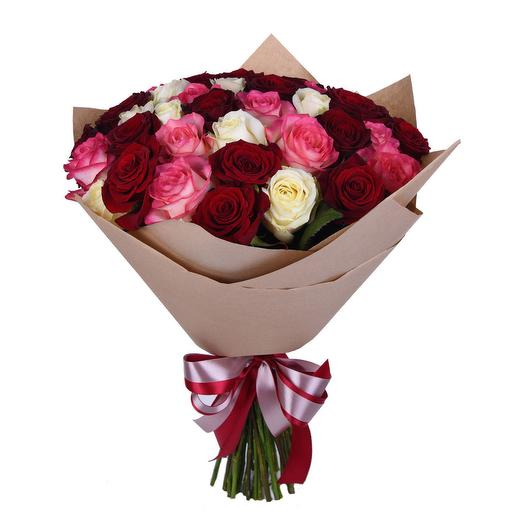 "Букет из 35 роз ""Ягодная палитра"": букеты цветов на заказ Flowwow"