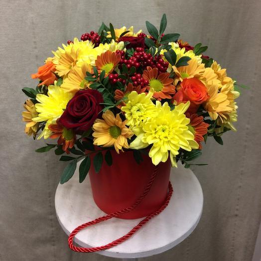Шляпная коробка «Королева Осень»: букеты цветов на заказ Flowwow