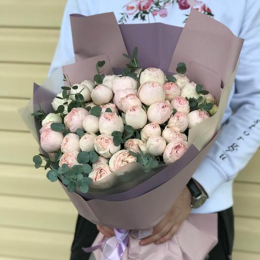 Букет из розовых пионовидных роз Мэнсфилд Парк (15 шт). N637: букеты цветов на заказ Flowwow