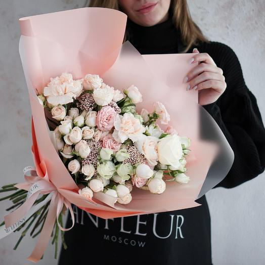 Букет в нежной гамме с озотамнусом: букеты цветов на заказ Flowwow