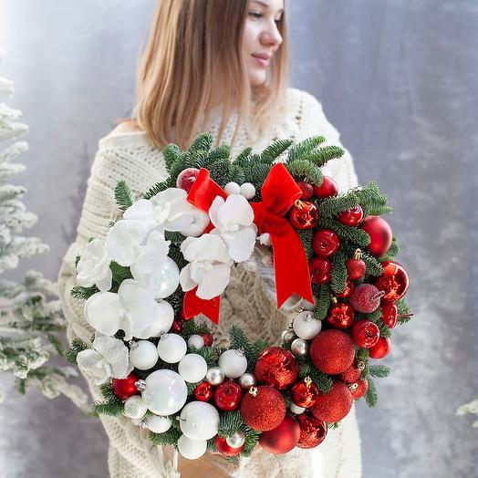 "Венок ""Милый Санта"": букеты цветов на заказ Flowwow"