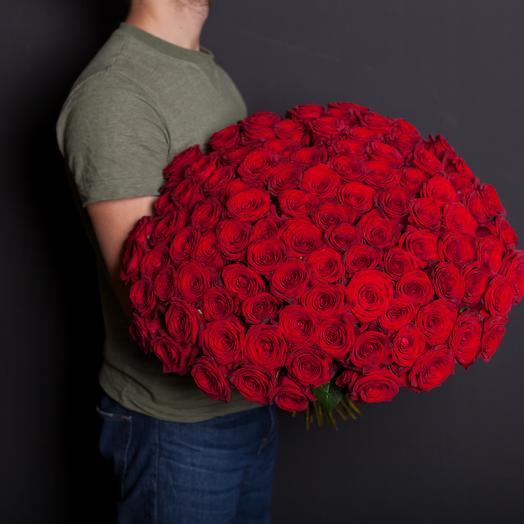 101 роза красная 60 см: букеты цветов на заказ Flowwow