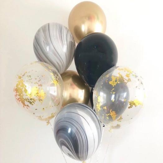 Каскад из 8 гелиевых шаров «Чёрное золото»
