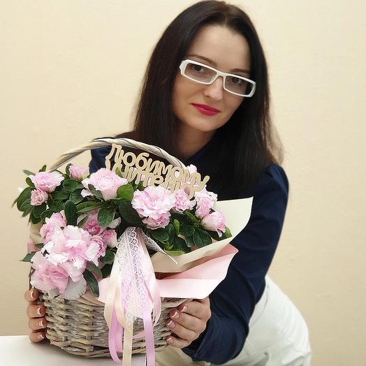 Корзина на 1 сентября с азалией Любимому Учителю