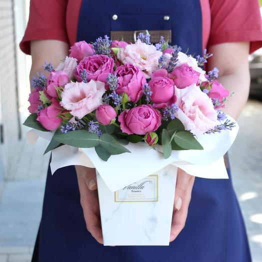 Ароматный бокс с пионовидной розой