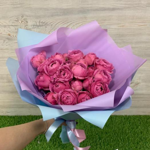 Букет из 9 пионовидных роз Мисти Баблз (40 см )