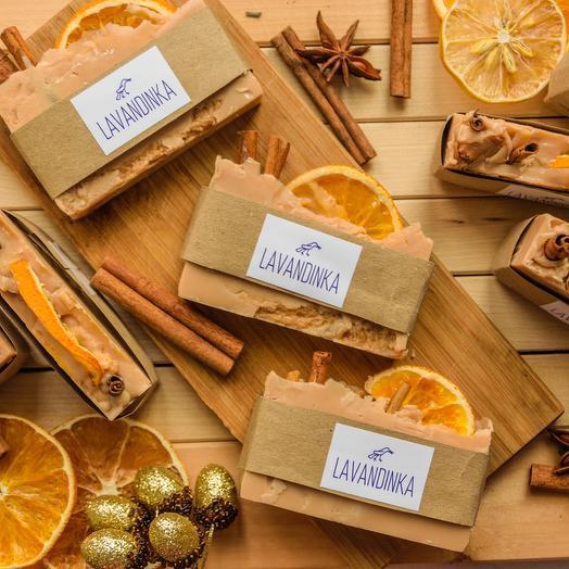 Мыло ручной работы с корицей и апельсином