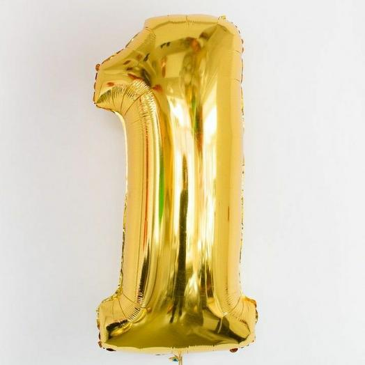"""Фольгированная цифра 1""""Золото"""""""