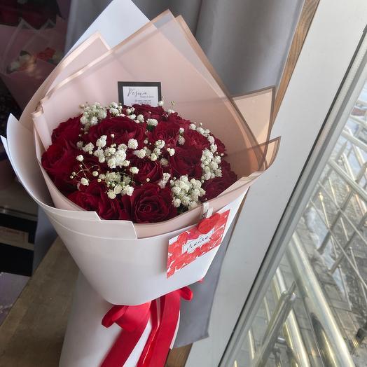 Букет 19 роз/букет роз/Букет ароматных роз/стильный букет/ алые розы