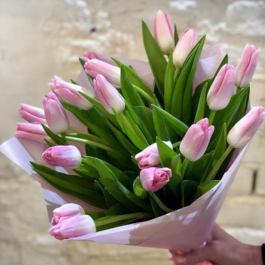 19 розовых тюльпанов с оформлением