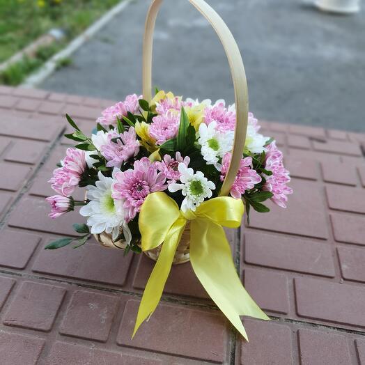"""Корзина с цветами """"Лукошко мини"""""""