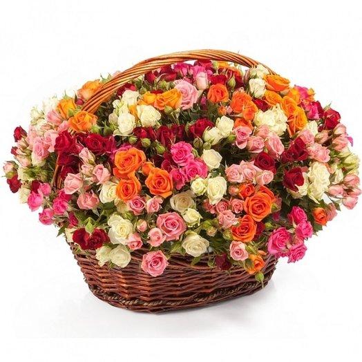 Корзина Кустовой микс: букеты цветов на заказ Flowwow