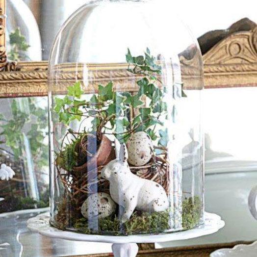 Композиция «Кош стекло с кроликом»: букеты цветов на заказ Flowwow