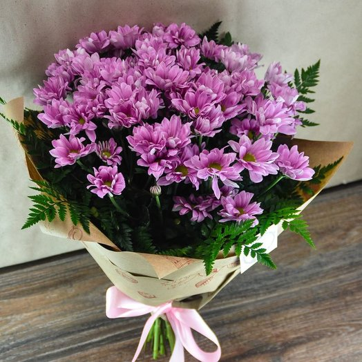Букет из розовых хризантем: букеты цветов на заказ Flowwow