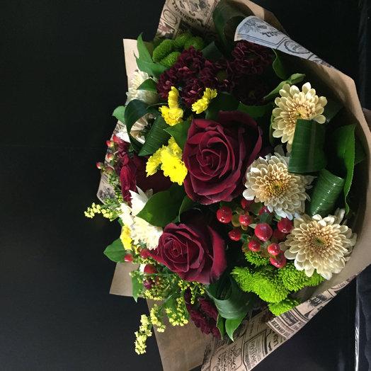 Сборный букет из роз и хризантем : букеты цветов на заказ Flowwow