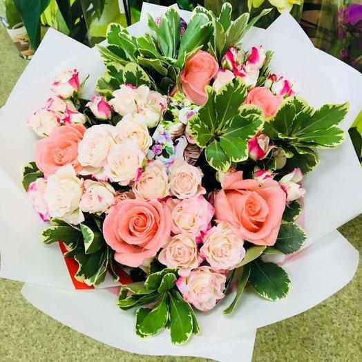 "Букет ""Пудра"" из роз и зелени. Код 180092: букеты цветов на заказ Flowwow"