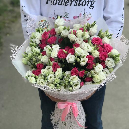 Эустома белая 19 веток , кустовая роза 10 веток. N296: букеты цветов на заказ Flowwow