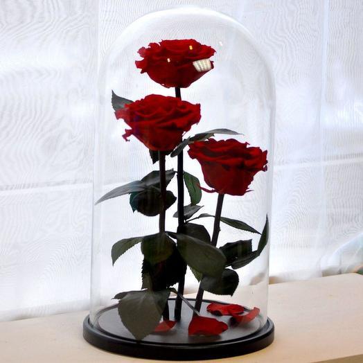 КОМПОЗИЦИЯ «ТРИО» 3 РОЗЫ В КОЛБЕ RUSSIAN RED/КОРОЛЕВСКИЙ КРАСНЫЙ: букеты цветов на заказ Flowwow